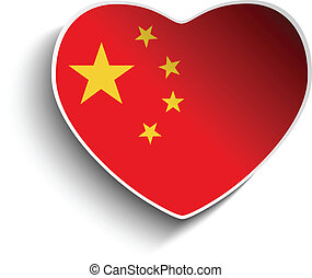 China Flag Heart Paper Sticker