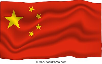 China Flag Icon. National Flag Banner. Cartoon Vector illustration