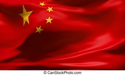 CHINA Flag in wind in slow motion - Creased cotton flag with...
