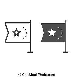 China flag line and solid icon, national flag of China republic sign on white background, flag with star icon in outline style for mobile concept and web design. Vector graphics.