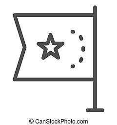 China flag line icon, national flag of China republic sign on white background, flag with star icon in outline style for mobile concept and web design. Vector graphics.