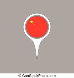 China flag location map icon , Vector illustration.