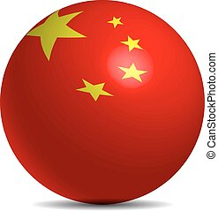 China flag on a 3d ball with shadow