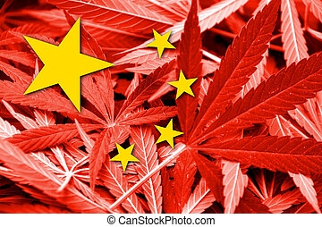 China Flag on cannabis background. Drug policy. Legalization...