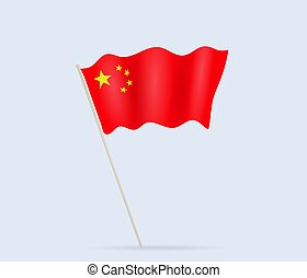 China flag on flagpole waving in the wind. Vector illustration.