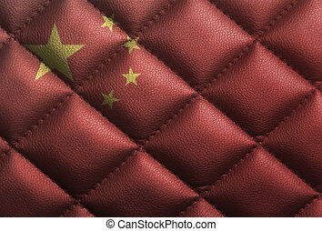 China flag on leather texture