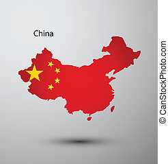 China flag on map