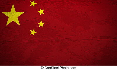 CHINA flag on wall explosion