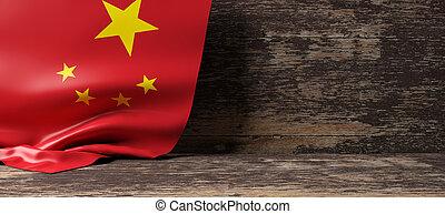 China flag on wooden background. 3d illustration