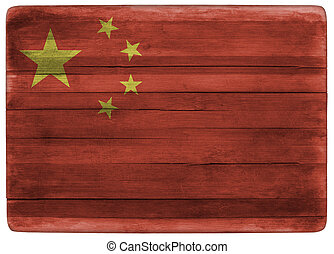 China flag on wooden board