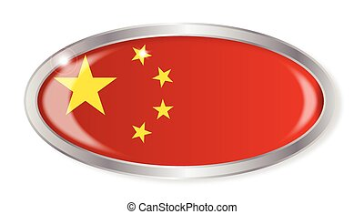 China Flag Oval Button
