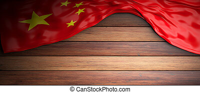 China flag placed on wooden background with copyspace. 3d illustration