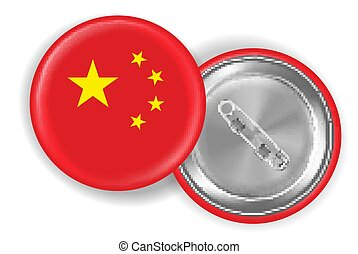 china flag round steel pin brooch vector