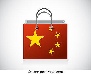 China flag shopping bag illustration design over a white ...