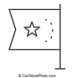 China flag thin line icon, national flag of China republic sign on white background, flag with star icon in outline style for mobile concept and web design. Vector graphics.