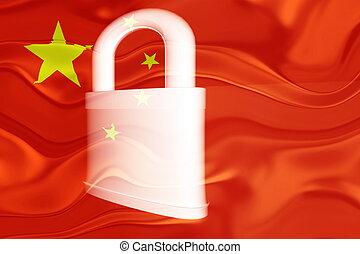 China flag wavy security - Flag of China, national symbol...