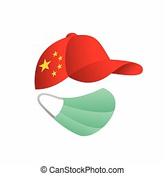 china flag with hat, medical mask vector