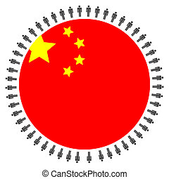 China flag with people