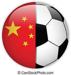 China Flag with Soccer Ball Background