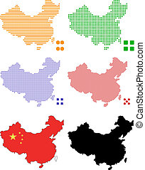 china - Flag,contour and pixel outline of China.