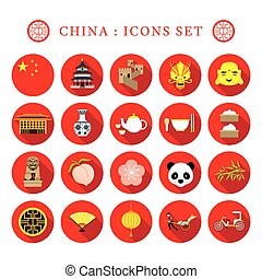China Flat Icons Set - Travel Attraction, Food,...