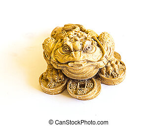 China Golden frog with coins isolated on white