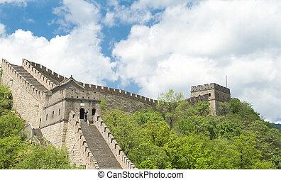 china, grande, beijing, cielo, pared azul, mutianyu