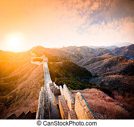 China great wall at sunset of in winter - Ancient great wall...