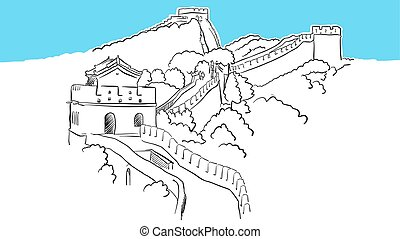 China Great Wall Lineart Vector Sketch. and Drawn...