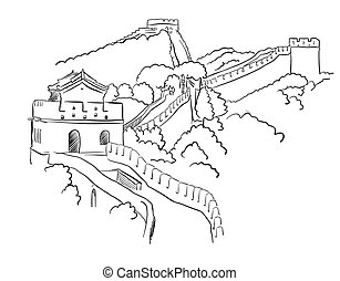 China Great Wall Vector Sketch, Famous Destination Landmark,...
