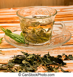 China Green Tea Represents Drinking Well And Wellness