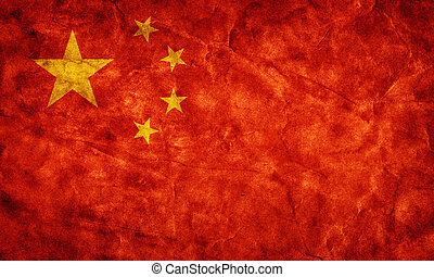 china, grunge, flag., artikel, van, mijn, ouderwetse , retro, vlaggen, verzameling
