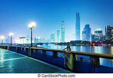 China Guangzhou Night - China Guangzhou Pearl River,...