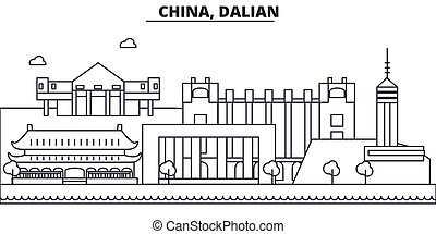 China, Guilin architecture line skyline illustration. Linear vector cityscape with famous landmarks, city sights, design icons. Landscape wtih editable strokes