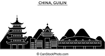 China, Guilin architecture urban skyline with landmarks, cityscape, buildings, houses, ,vector city landscape, editable strokes