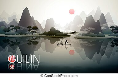 China Guilin travel poster with natural scenery, fisherman...