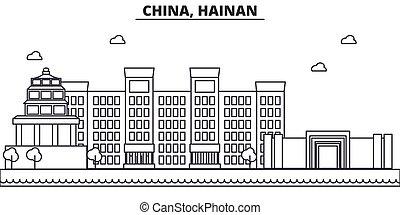 China, Hainan architecture line skyline illustration. Linear...