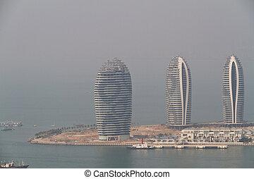 China Hainan island, city of Sanya aerial view