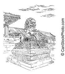 China hand drawing landmark 3 - Big bronze lion in forbidden...