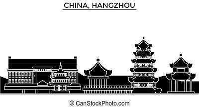 China, Hangzhou architecture urban skyline with landmarks, cityscape, buildings, houses, ,vector city landscape, editable strokes