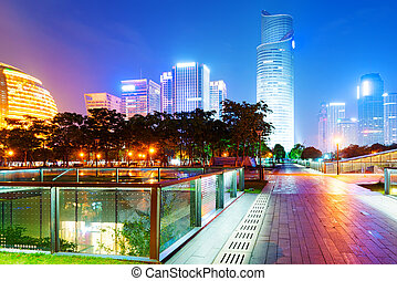 china, hangzhou, rascacielos, noche, paisaje.