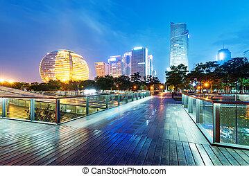 China Hangzhou skyscrapers, night landscape.
