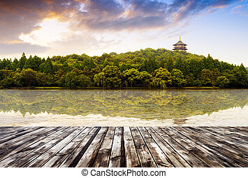 beautiful hangzhou west lake scenery, leifeng pagoda in afterglow