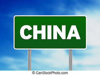 Green China highway sign on Cloud Background.