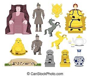 China History Objects Set - Travel Attraction, History,...