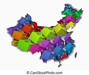 China Homes Homes Map New Real Estate Development 3d Illustration