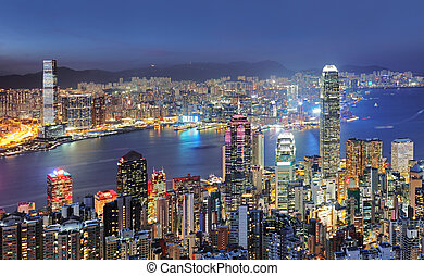 China - Hong Kong cityscape at night