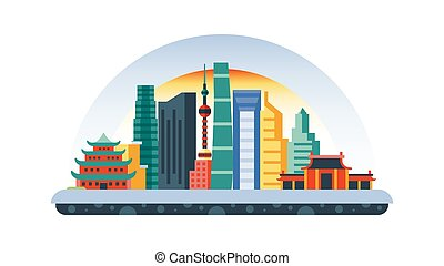 China icon in flat style - Stock vector illustration...