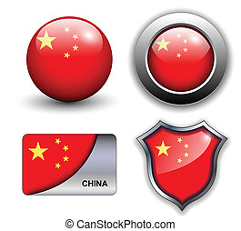 China icons - People's Republic of China flag icons theme.