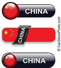China icons - People's Republic of China flag banners, icons...